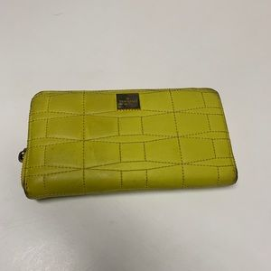 Kate Spade Yellow & Gold Quilted Zip Wallet